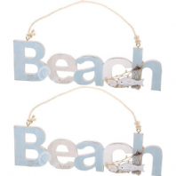 Wooden Beach Signs - Pair